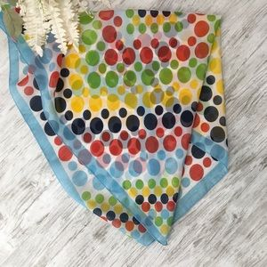 Vintage Polka Dot Scarf Head Neck Blue Yellow 26""